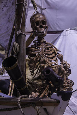 Skull Photograph - Skeleton With Bow Canon by Garry Gay