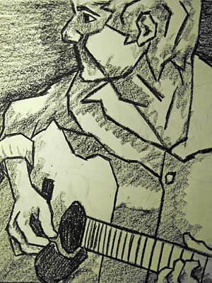 Sketch - Guitar Man Print by Kamil Swiatek