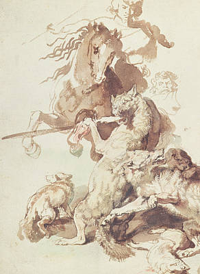 Stallion Drawing - Sketch For A Wolf Hunt by Peter Paul Rubens