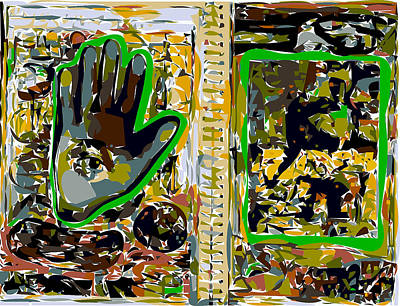 Xerox Art Mixed Media - Sketchbook Eye-in-hand And Abstraction by F Burton