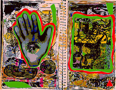 Xerox Art Mixed Media - Sketchbook Pages With Eye In The Hand by F Burton