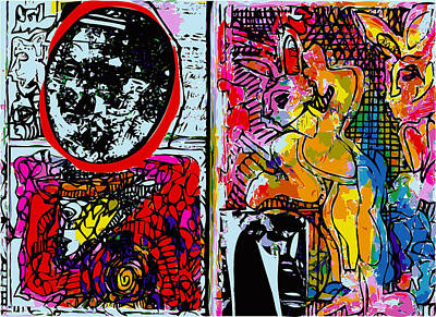 Xerox Art Mixed Media - Sketchbook With Mona Lisa And Rabbits by F Burton