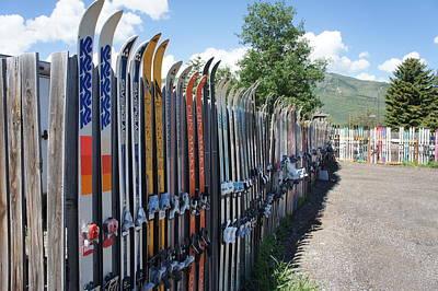 Ski Fence Print by Priscilla Wolfe