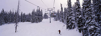 Summit County Colorado Photograph - Ski Lift Passing Over A Snow Covered by Panoramic Images