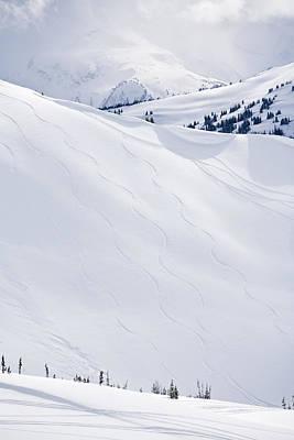Ski Tracks On Whistler Blackcomb Mountain, British Columbia, Canada Print by Radius Images