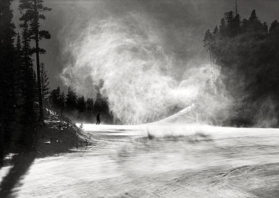 Black White Photograph - Skier And Snow And Sun by Marilyn Hunt