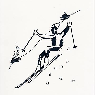 Maine Winter Drawing - Skier I by Winifred Kumpf