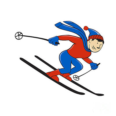 Skier Skiing Side Isolated Cartoon Print by Aloysius Patrimonio