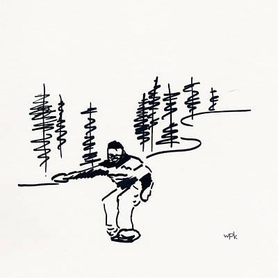 Beaver Drawing - Skier Vii by Winifred Kumpf