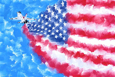 Us Flag Mixed Media - Skies Over America by Mark Tisdale