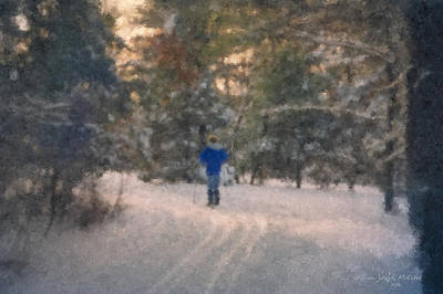 Cross-country Skiing Painting - Skiing Borderland In Afternoon Light by Bill McEntee