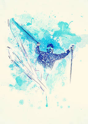 Sports Mixed Media - Skiing Down The Hill by Bekare Creative
