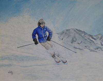Skiing Painting - Skiing The Whistler Blackcomb In Bc by Kelly Mills