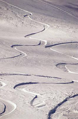 Skiing Tracks Print by John Foxx
