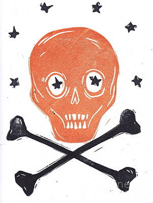 Skull And Cross Bones Halloween Crest Original by Coralette Damme