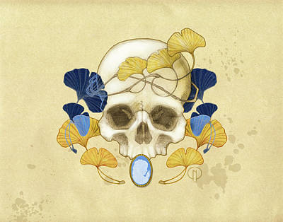 Skull Drawing - Skull And Ginkgo by Catherine Noel