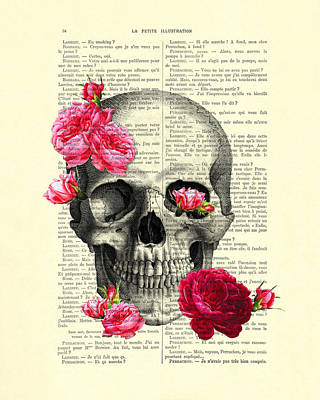 Halloween Digital Art - Skull And Pink Roses by Madame Memento
