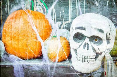 Skull Photograph - Skull And Pumpkin by Tom Gowanlock