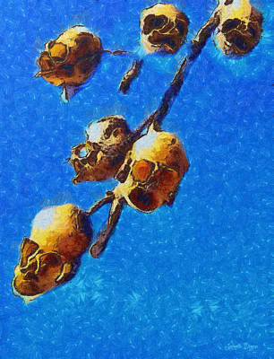 Odd Painting - Skull Flower - Pa by Leonardo Digenio