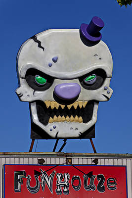 Skull Photograph - Skull Fun House Sign by Garry Gay