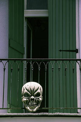 Nola Photograph - Skull On Wrought Iron Rail by Garry Gay