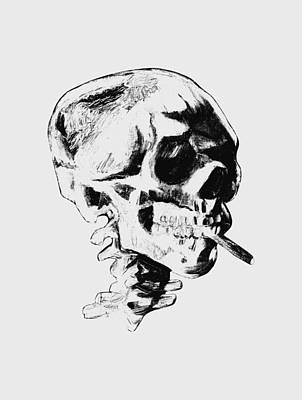 Burning Mixed Media - Skull Smoking A Cigarette by War Is Hell Store