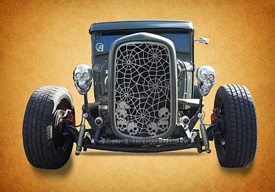 Skull Vintage Car Print by Art Spectrum
