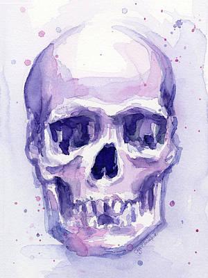 Skull Watercolor Purple Original by Olga Shvartsur