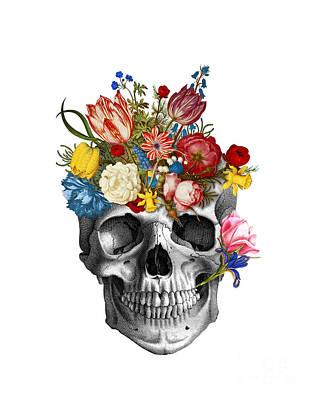 Halloween Digital Art - Skull With Flowers by Madame Memento