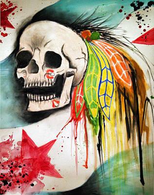 Chicago Blackhawks Drawing - Skullhawk by Chantelle DeNicolo