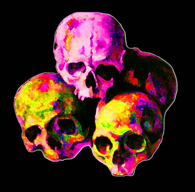 Abstract Digital Painting - Skulls by Vicky Brago-Mitchell