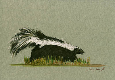 Wild Animals Painting - Skunk Animal by Juan  Bosco