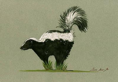 Wild Animals Painting - Skunk  by Juan  Bosco