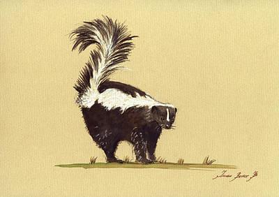 Wild Animals Painting - Skunk Watercolor by Juan  Bosco