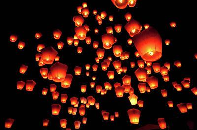Sky Lanterns In Pinghsi Print by Jun
