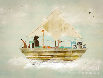 Raccoon Digital Art - Sky Sailers by Bri B