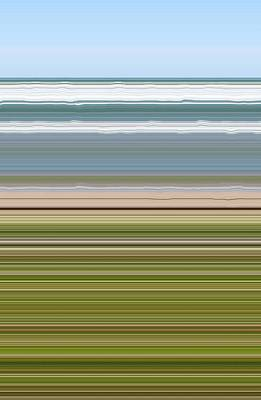 Abstract Beach Landscape Digital Art - Sky Water Earth Grass by Michelle Calkins