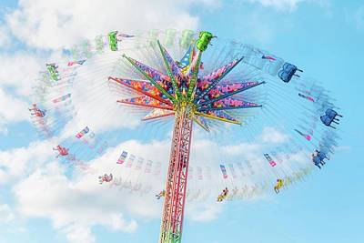 Sky Flyer Ride At Minnesota State Fair Print by Jim Hughes