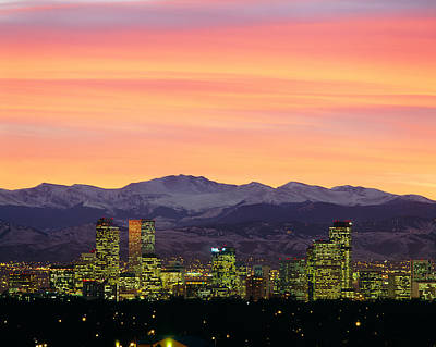 Romantic Location Photograph - Skyline And Mountains At Dusk, Denver by Panoramic Images