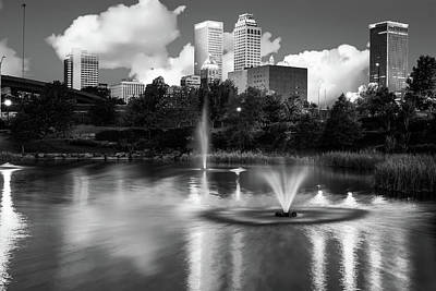 Cities Photograph - Oklahoma Skyline - Tulsa In Black And White by Gregory Ballos