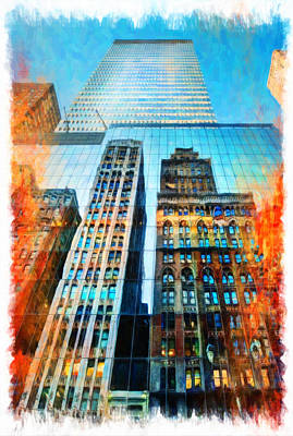 Skyscraper In New York City Print by Lanjee Chee