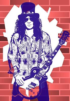 Velvet Revolver Digital Art - Slash Graffiti Tribute by Dan Sproul