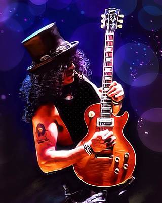Velvet Revolver Digital Art - Slash Painting by Scott Wallace