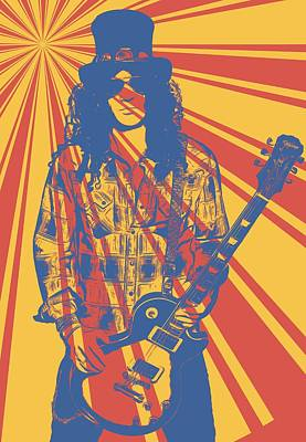 Velvet Revolver Digital Art - Slash Pop Art Poster by Dan Sproul