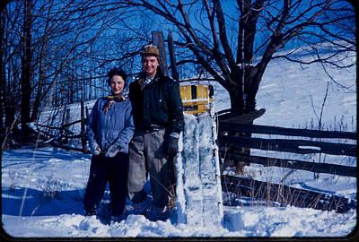 Sledding 1958 Vintage Photo Print by Sharon French