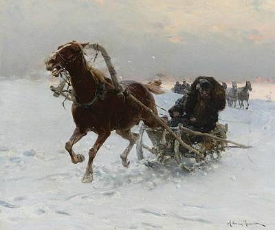 Polish Painters Painting - Sledding Caravan by Alfred Kowalski