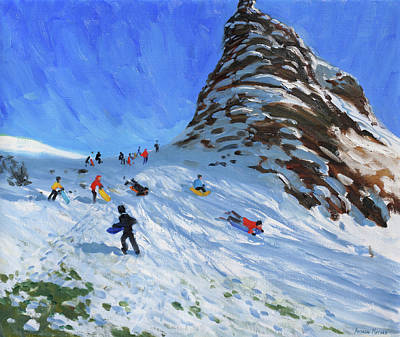 Sledging, Chrome Hill, Derbyshire, Peak District Print by Andrew Macara