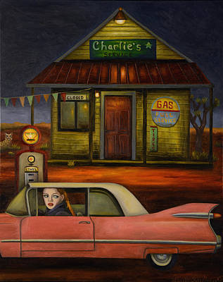 Gas Station Painting - Sleep Walker 2 by Leah Saulnier The Painting Maniac
