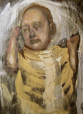 Sleeping Baby In Golden Cloth Print by Derek Van Derven