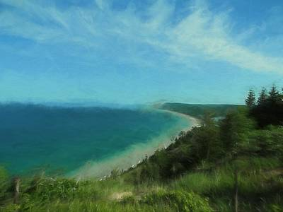 Tourist Attraction Mixed Media - Sleeping Bear Dunes Oil by Dan Sproul